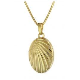 trendor 75779 Medaillon-Anhänger Gold 333 + vergoldete Silber-Halskette