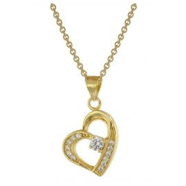 trendor 75847 Heart Pendant Necklace for Women Gold Plated Silver
