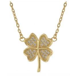 trendor 75488 Damen-Halskette mit Kleeblatt Gold auf Silber mit Zirkonias