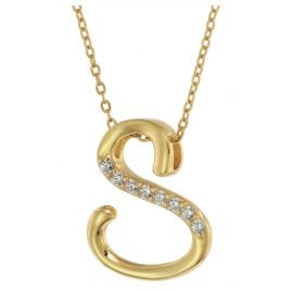 trendor 75852 Ladies' Necklace Gold Plated Silver with Cubic Zirconias