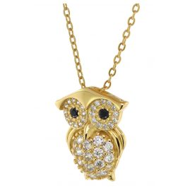 trendor 75853 Ladies' Owl Pendant Necklace Gold Plated Silver Cubic Zirconias