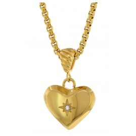 trendor 75882 Heart Pendant Ladies Necklace Gold Plated Steel Box Chain