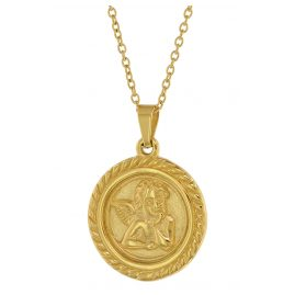 trendor 75884 Angel Pendant Ladies' Necklace Gold Plated Steel Anchor Chain