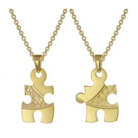 trendor 75950 Puzzle Partner Set Gold Plated Silver + 2 Necklaces