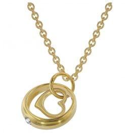 trendor 75960 Halskette mit Herz-Taufring Gold auf Silber