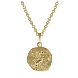 trendor 75905-11 Zodiac Sign for Children Scorpio Gold 333 Pendant + Necklace