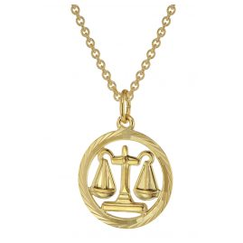 trendor 75940-10 Zodiac Sign Libra Gold 333 Pendant Ø 16 mm + Necklace