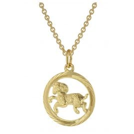 trendor 75940-04 Zodiac Sign Aries Gold 333 Pendant Ø 16 mm + Necklace