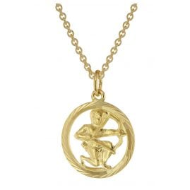 trendor 75940-12 Zodiac Sign Sagittarius Gold 333 Pendant Ø 16 mm + Necklace