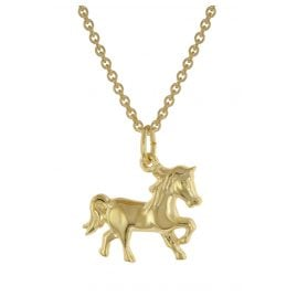 trendor 39024 Horse Pendant Children's Necklace Gold Plated Silver