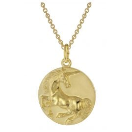 trendor 39046 Unicorn Pendant Necklace Gold Plated Silver 925