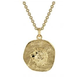 trendor 39070-08 Zodiac Sign Leo Men's Necklace Gold Plated Silver 925