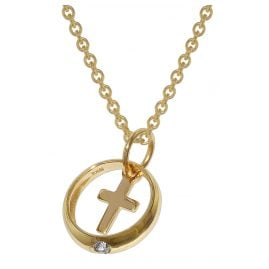 trendor 39485 Baptism Ring with Cross Gold 333 + Gold-Plated Silver Necklace