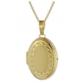 trendor 39538 Medaillon mit Halskette Gold plattiertes 925 Silber