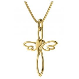 trendor 39573 Cross Pendant Gold 333 with Gold-Plated Silver Necklace