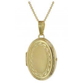 trendor 39784 Medaillon 333 Gold 31 mm groß mit vergoldeter Silberkette