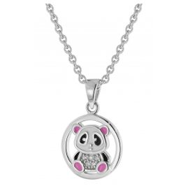 trendor 51040 Mädchen-Halskette mit Pandabär-Anhänger 925 Silber