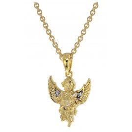 trendor 51136 Engel Anhänger Gold 333 / 8K + vergoldete Silberkette für Kinder
