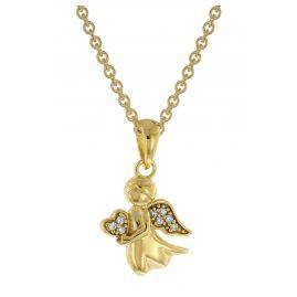 trendor 51142 Gold Anhänger Engel 333 / 8K + vergoldete Silber-Halskette