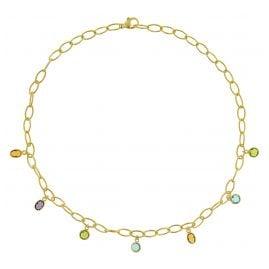 trendor 51185 Damen-Kette Gold auf Silber 925 Collier mit Bunten Quarzen