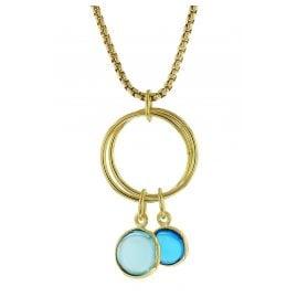 trendor 51187 Damen-Halskette Silber vergoldet Collier mit Blauen Quarzen