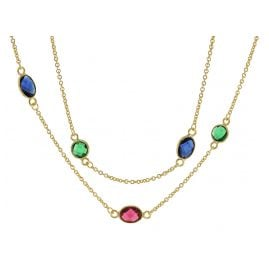 trendor 51188 Women's Necklace Gold Plated Silver 925 with Colourful Quartz