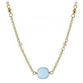 trendor 51190 Damen-Halskette Gold auf Silber 925 Collier mit Chalcedon