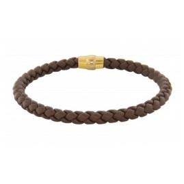 trendor 81705 Armband für Herren Braunes Geflecht Magnetschließe