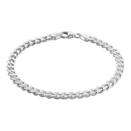 trendor 75136 Men's Bracelet Silver 925 Flat Curb Chain 4.7 mm Wide