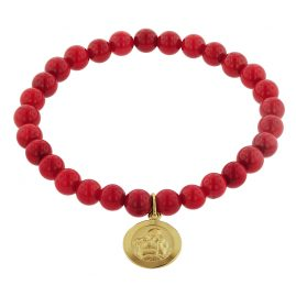 trendor 75517 Bracelet for Girls Bamboo Coral Red with Angel Gold 333