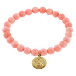trendor 75518 Mädchen-Armband Bambuskoralle Rosé mit Engel Gold 333