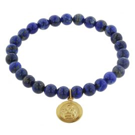 trendor 75519 Bracelet for Girls Lapis Lazuli with Angel Gold 333
