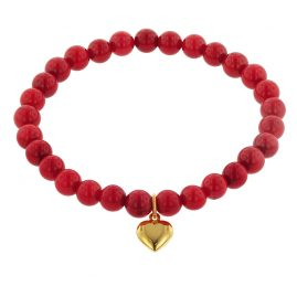 trendor 75521 Bracelet for Girls Bamboo Coral Red with Heart Gold 333