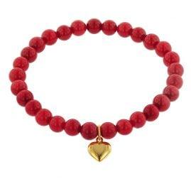 trendor 75521 Armband für Mädchen Bambuskoralle Rot mit Herz Gold 333
