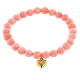 trendor 75522 Mädchen-Armband Bambuskoralle Rosé mit Herz-Anhänger Gold 333