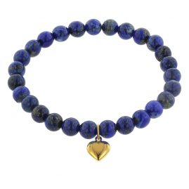 trendor 75523 Bracelet for Girls Lapis Lazuli with Heart Pendant Gold 333