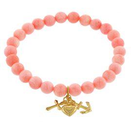 trendor 75526 Mädchen Armband Bambuskoralle Rosé mit Gold-Anhänger