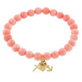 trendor 75530 Mädchen-Armband Bambuskoralle Rosé mit Anhänger Gold 333