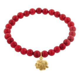 trendor 75604 Girl's Bracelet Bamboo Coral Red with Four-Leaf Clover Gold 333