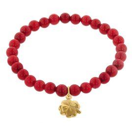 trendor 75604 Armband für Mädchen Koralle Rot mit Kleeblatt Gold 333