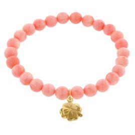 trendor 75605 Girl's Bracelet Bamboo Coral Rose with Four-Leaf Clover Gold 333