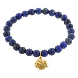 trendor 75606 Armband für Mädchen Lapislazuli mit Glücksklee Gold 333
