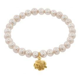 trendor 75607 Mädchen-Armband Süßwasser-Zuchtperlen mit Kleeblatt Gold 333