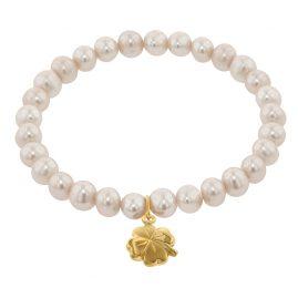 trendor 75607 Girls Bracelet Freshwater Pearl with Four-Leaf Clover Gold 333