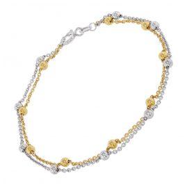 trendor 75666 Damen-Armband Armkettchen Zweireihig Bicolor Silber