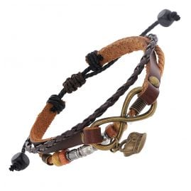 trendor 75804 Bracelet Fantasy Leather/PU brown-black