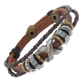 trendor 75808 Unisex Leather Bracelet Brown