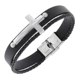 trendor 75875 Men's Bracelet Black Leather Steel Cross