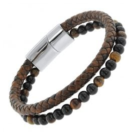 trendor 75877 Men's Bracelet Brown Leather / Onyx / Tiger Eye