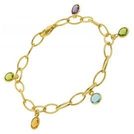 trendor 51186 Women's Bracelet Gold Plated Silver 925 with Colourful Quartz